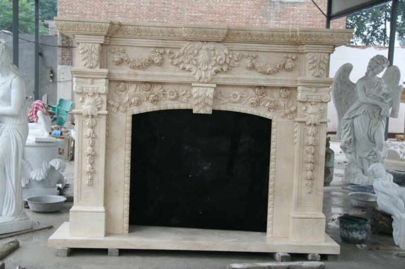 BEAUTIFUL HAND CARVED MARBLE FRENCH STYLE FIREPLACE MANTEL - FSM87