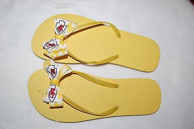 Womens YELLOW FLIP FLOPS Handmade Bow KANSAS CITY CHIEFS Decorated SIZE 7-8 (Decorated Flip Flops)