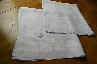PAIR ANTIQUE WHITE DAMASK LINEN DINNER NAPKINS Embroidered Mono