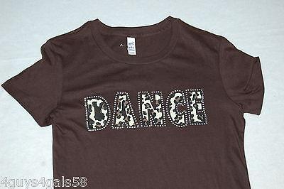 JR Womens Tee Shirt BROWN Leopard Lettering DANCE Cap Sleeve RHINESTONE S -