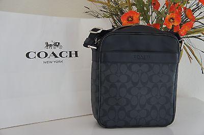 NWT Coach Men's F54788 Flight Crossbody Bag in Signature PVC Charcoal/Black