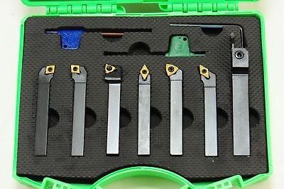 Shars 7pcs 38 Indexable Carbide Turning Threading Lathe Tool Insert Set New