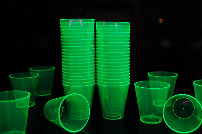 2Oz 50 Count Neon Green Blacklight Reactive Plastic Shot Glasses