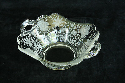 CAMBRIDGE GLASS WILDFLOWER ETCHED # 3400/1180 2 HANDLED BON BON CANDY DISH