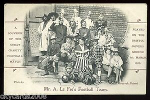 BRISTOL-1905-Charity-Football-Match-on-Rovers-Ground-Mr-Le-Fres-Team-in-costume