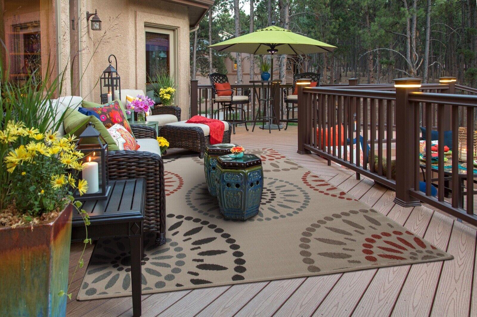 Weather-Proof standf#10 Cream Indoor/Outdoor Area Rug size 2