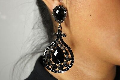 - New Wedding Clip On Rhodium Black Crystal Drag Queen Pageant Earrings Bridemaids