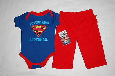 Baby Boys 2 PC OUTFIT Red Pants BLUE SUPERMAN LOGO TEE SHIRT Future Hero 6-9 MO - Baby Superman Outfit