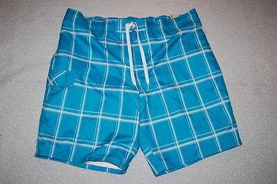 Square Leg Bathing Suit (Mens Board Shorts TURQUOISE w/ WHITE SQUARES Knee Length LEG POCKET Sz 3X)