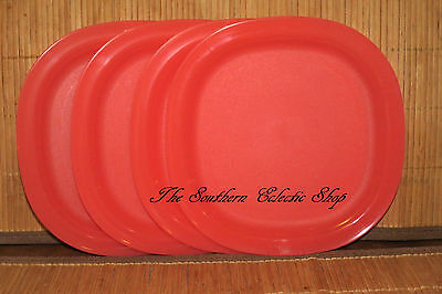 Tupperware Set of 4 Impressions Dessert / Salad / Party Plates Orange