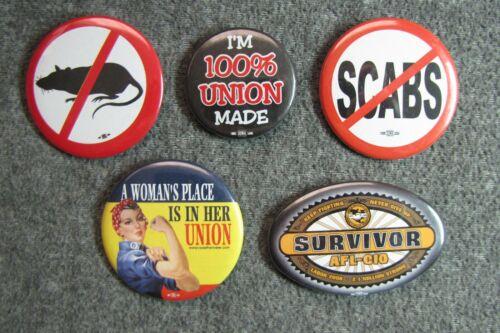 5 Trade Union Pinback Buttons ~ Picket Line Pins NO SCABS   NO RATS ~  Survivor