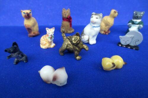lot 11 miniature cat figurine sculpture dollhouse  1:12  1:24