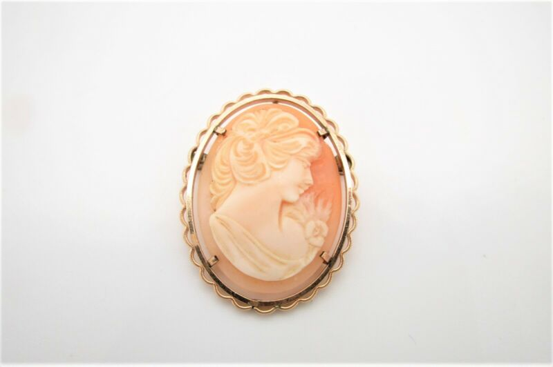 Vtg Krementz Gold Filled Brooch w/Carved Shell Cameo