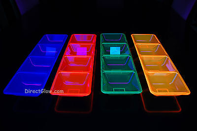 Neon Blacklight Reactive 4 Compartment Serving Tray (Blacklight Reactive)