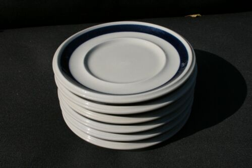 Set of 6 Arabia Of Finland ANEMONE BLUE saucers MCM Pottery