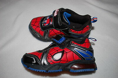 Toddler Boys Shoes ULTIMATE SPIDERMAN Black Red LIGHT UP Web Design 7 8 9 10
