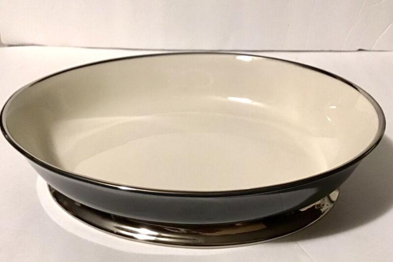 Vintage Flintridge China - Contessa Teal w/ Platium Trim Serving Bowl