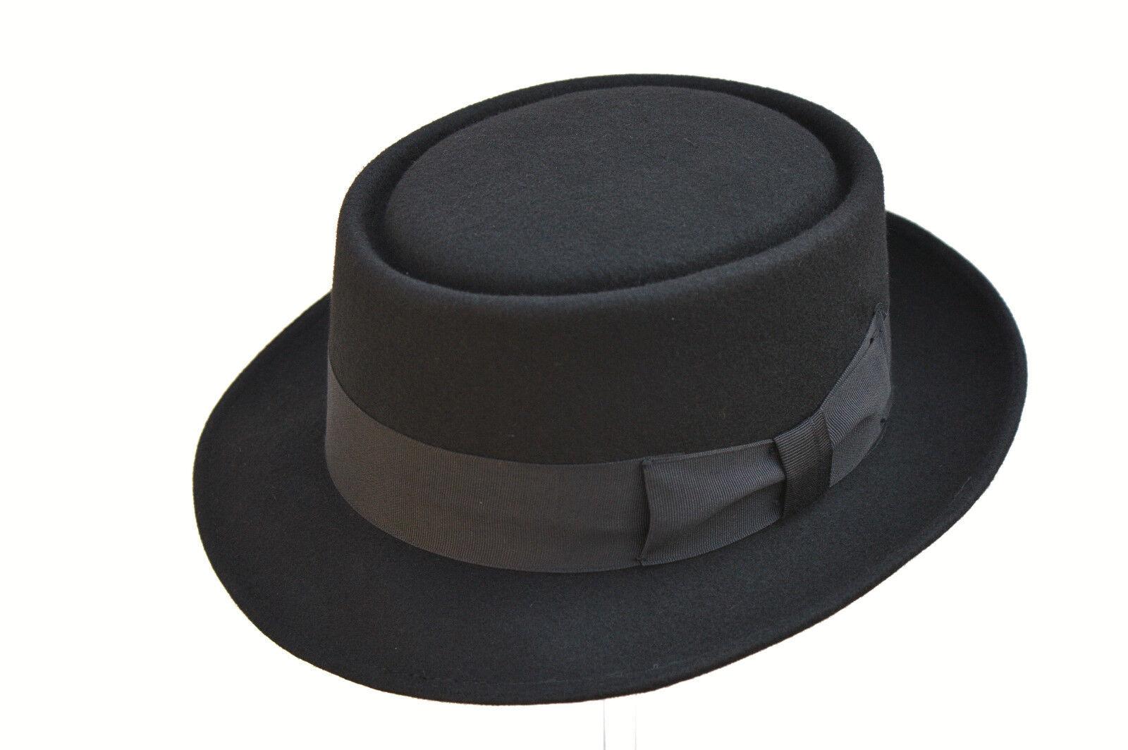 Mano negra de caballeros 100% lana hechos fieltro sombrero sombrero con  forro de Satén 1b9627a7696