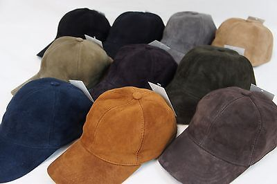 REAL Lambskin Suede Leather Baseball Cap Hat Biker Trucker Sport Visor 10 COLORS
