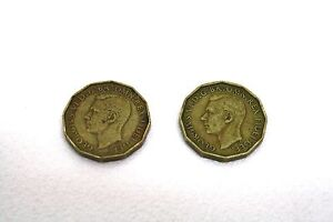 2 x THREEPENCE Old Viintage Coins George VI Thrift Plant Back 1952