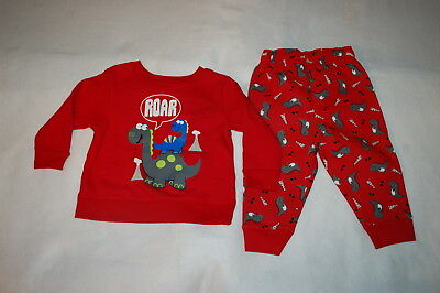 - Baby Boys Outfit RED SWEATSHIRT & SWEAT PANTS Cute Dinosaurs