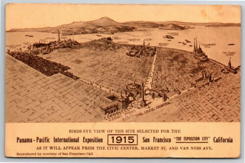 """Vintage 1915 Pan Pacific Exposition San Francisco Postcard - """"SF Expo Overview"""""""