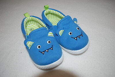 Baby Toddler Boys Shoes CUTE MONSTER FACE Turquoise Blue Lime Green SIZE 2 3 5 6