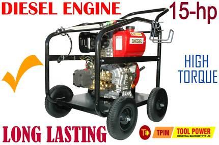 Pressure Cleaner, Water Blaster, 15hp DIESEL, Turbo + 18m hose
