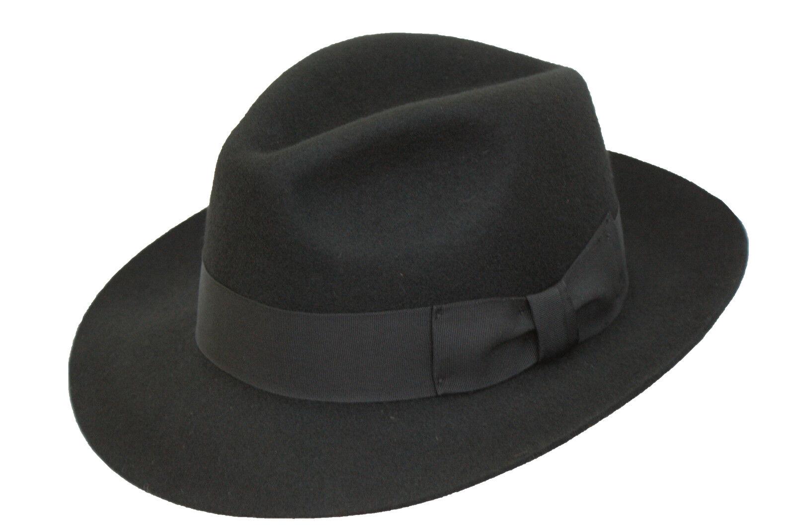 negro hombre 100% Lana Hand Made Ancho Borde Fieltro Sombrero Fedora Trilby 4ce740b8b29
