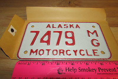 Alaska Motorcycle License Plate numbered 7479, NEW and Unused, expired in 1976
