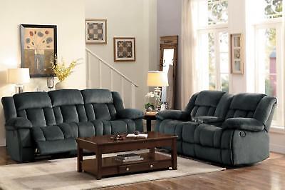 Laurelton Charcoal Microfiber Dual Reclining Sofa 2P Modern Homelegance 9636CC-3