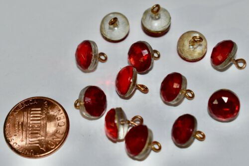 VINTAGE 12 RED GLASS BUTTON ANTIQUE FACETED BEAD BRASS SHANK 9.2mm BUTTONS