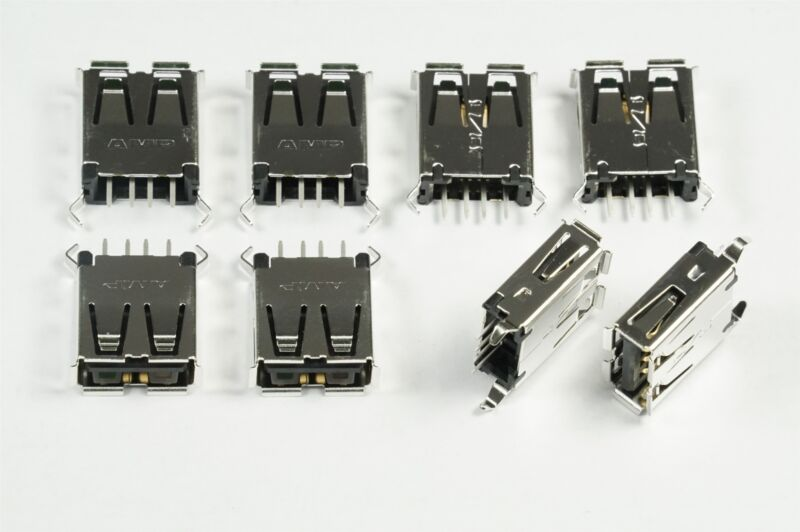 Lot of 8 1734366-1 TE Conn USB-A 2.0 Connector 4 Position Thru Hole Vert NOS