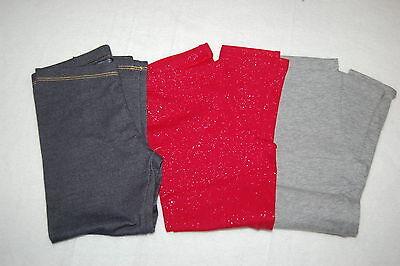 Girls Leggings 3 PAIR LOT Blue Denim Look RED w/ SILVER SPARKLE Heather Gray XS - Girls Sparkle Leggings