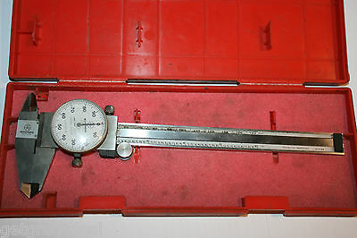 Mitutoyo Shock Proof Dial Caliper 0-6 With Case 505-637-50 In Red Case