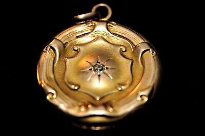 Art Nouveau Diamond &10k Solid Gold Vintage RARE Charm Hinged Picture Locket.  - Nouveau Square Charm