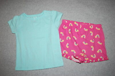 (Baby Girls Outfit LIGHT AQUA T-SHIRT Knit Shorts RAINBOWS STARS Ruffled 6-9 MO)