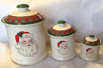 Santa Ceramic Storage Jars Air Tight Canister Set Christmas Decor Holiday Season