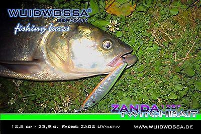 WUIDWOSSA Zanda 128F 5 Farben Twitchbait Wobbler Zander Kunstköder Jerkbait deps