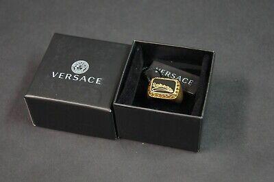 VERSACE Men Gold & Black Varsity Signet Ring NEW NIB $325