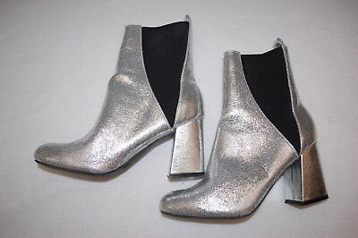 Womens SHINY SILVER GLITTER GOGO BOOTS High Top PULL ON Chelsea 3
