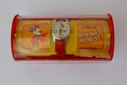 Disney Mickey Mouse Wrist Watch w/ Original Leather Band by Bradley Time in Box