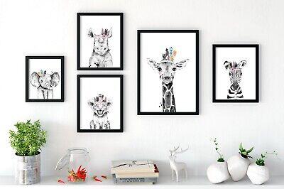 Prints Wall Art, Boho Style, Peekaboo Animals With Feathers (Baby Animal Prints)