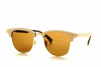New Ray Ban RB3016M 1179 Clubmaster Wood Sunglasses Light Brown / B-15 Lens (Ray Ban Wood Sunglasses)