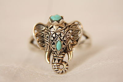 Vintage Filigree Sterling Silver Ganesh Elephant head God Ring Turquoise sz 6.7