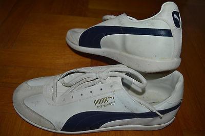 Vtg PUMA TOP WINNER Trainers Sneakers 80s White Blue men UK 8.5 NOS Deadstock