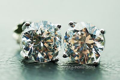 STUD EARRINGS 4.00CT VVS/D round cut screwback solid real 14K WHITE GOLD