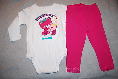 Baby Girls Outfit L/S WHITE SHIRT Mommy Loves Me TEDDY BEAR Pink Leggings 0-3 MO - Teddy Bear Baby Outfit