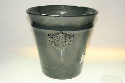 "IVYLINE  Very Large Motif Design GREY Ceramic Plant Flower Pot Ht 270mm / 10.5"""