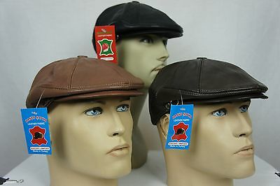 Leather Newsboy Hat (NWT 100% LEATHER Men Gatsby Cap Newsboy Ivy Hat Golf Driving Flat Cabbie)